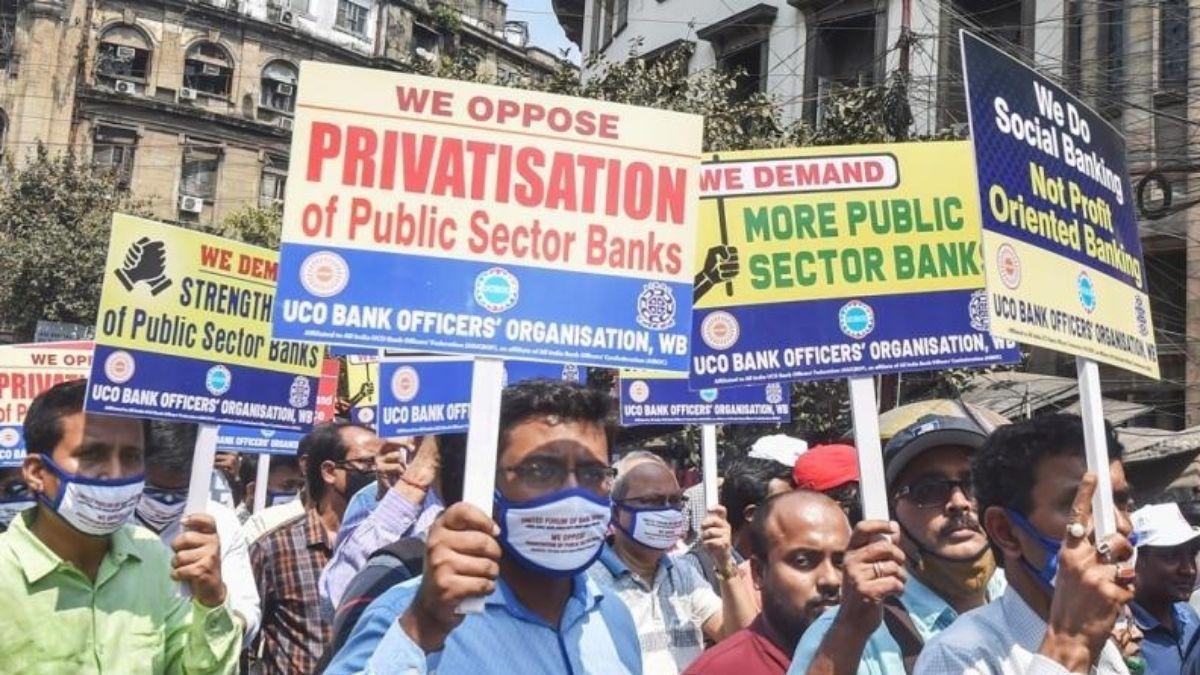 Bank privitization oppose by psu employees