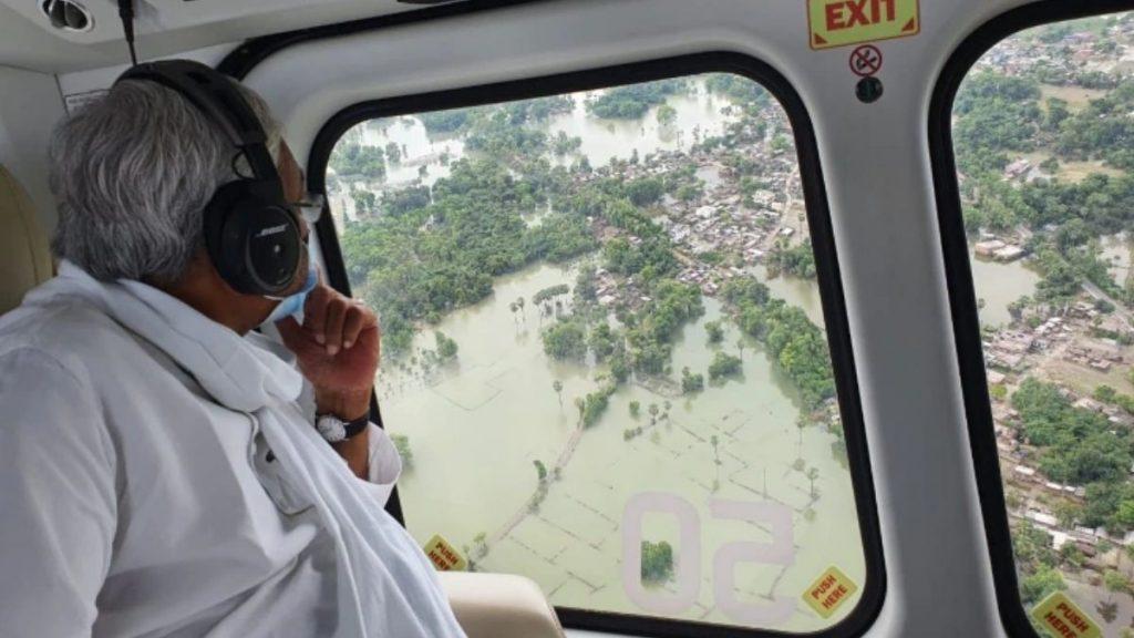 Nitish Kumar bihar watching aerial flood